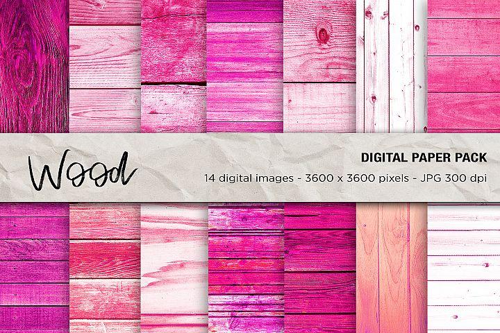 Wood Digital Papers, Pink Wood Textures