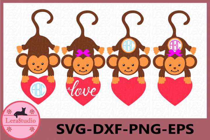 Monkeys SVG, Girl Monkey Svg Cut Files,Valentine Day SVG