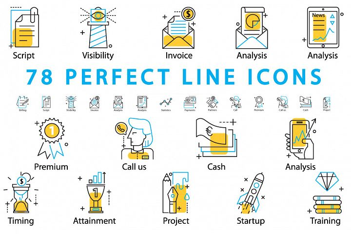 78 PERFECT LINE ICONS example 1