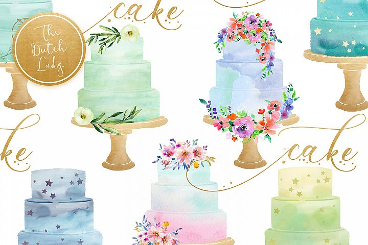 Watercolor Layered Wedding Cake Clipart