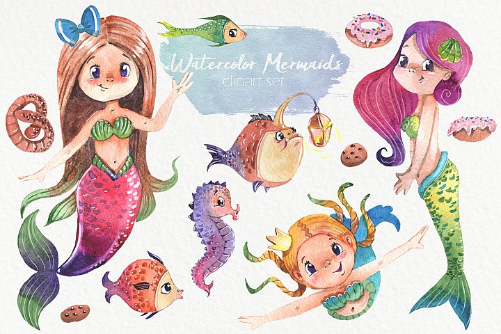 Watercolor mermaids, fishes, seahorse and cookies clipart