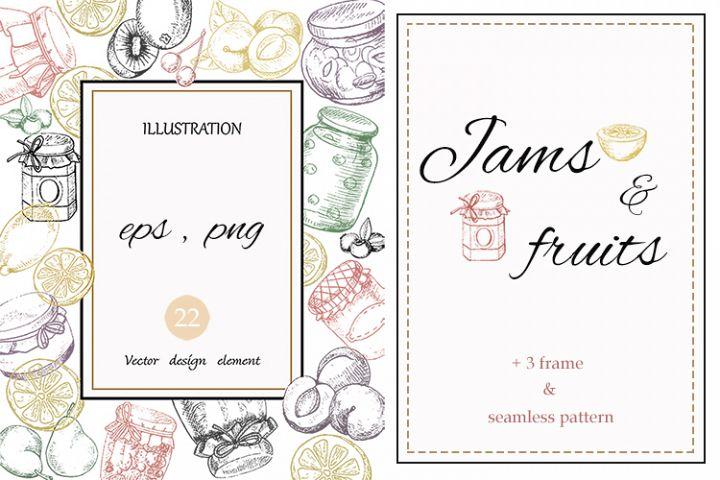 Jams & fruits in vector