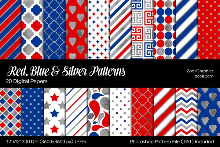 Red, Blue & Silver Digital Papers