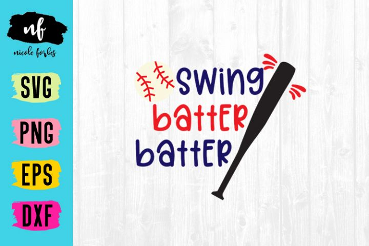 Swing Batter Batter Baseball SVG Cut File