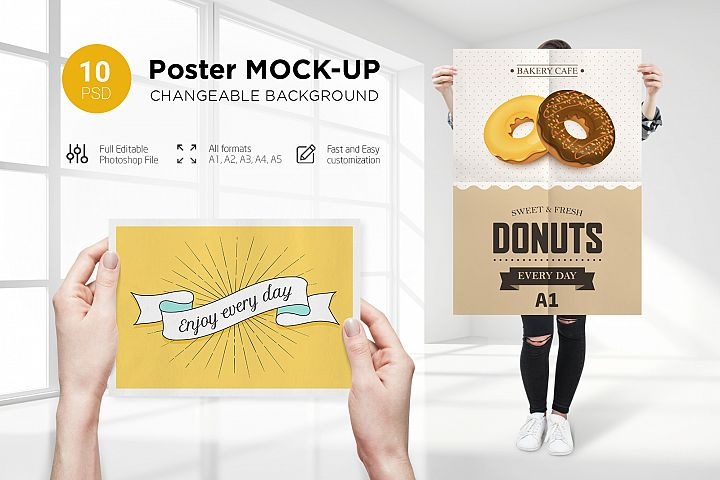 10 Poster Mock-Up Female Model