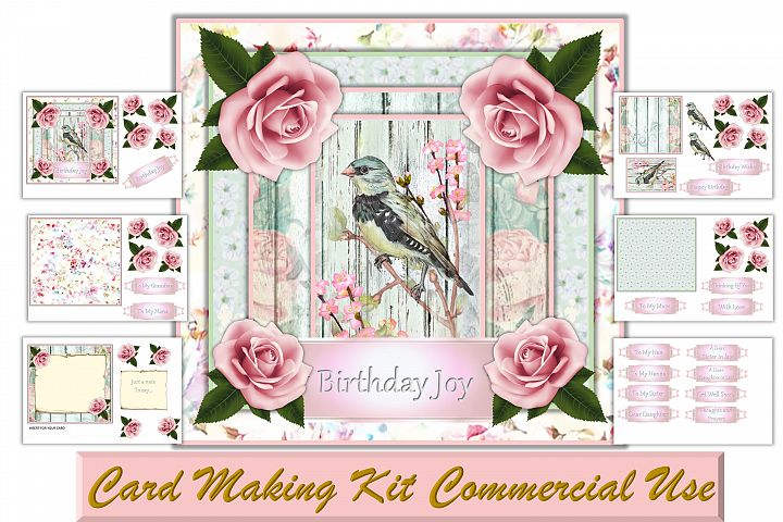 Birds and Rose Printable card making kit JPEG and PNG CU