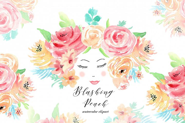 Watercolor flowers clip art. For wedding invitations, scrapbook, thank you card, logo creations. BOHO, Hand painted Watercolor floral