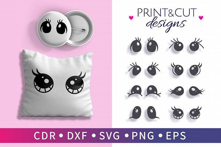 8 Clipart eye vector, Eyelashes unicorn eyes SVG, Print eye