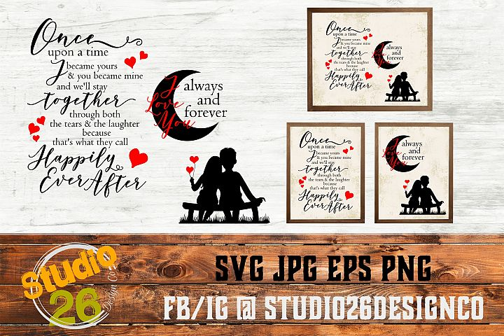Once upon a time & Moon - SVG EPS PNG