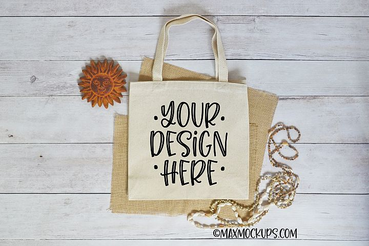Canvas tote mockup, shopping bag, summer theme