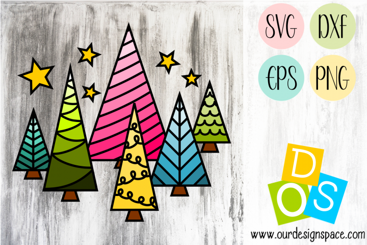 Christmas Trees SVG, DXF, EPS and PNG files