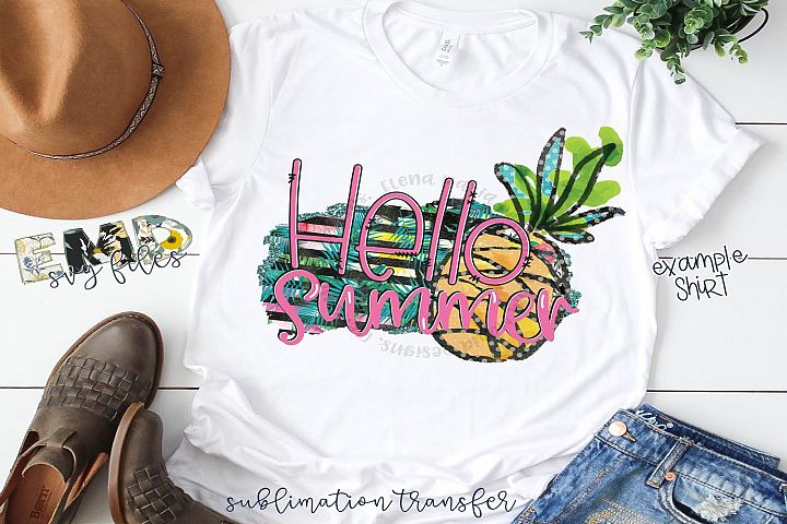 Hello Summer PNG | Beach Sublimation Transfer