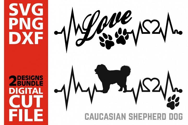 2x Caucasian Sheepherd Dog Bundle svg, Dog svg, Heartbeat