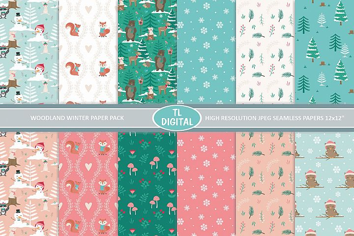 Woodland Winter Paper Pack - 12 seamless Patterns - JPEG