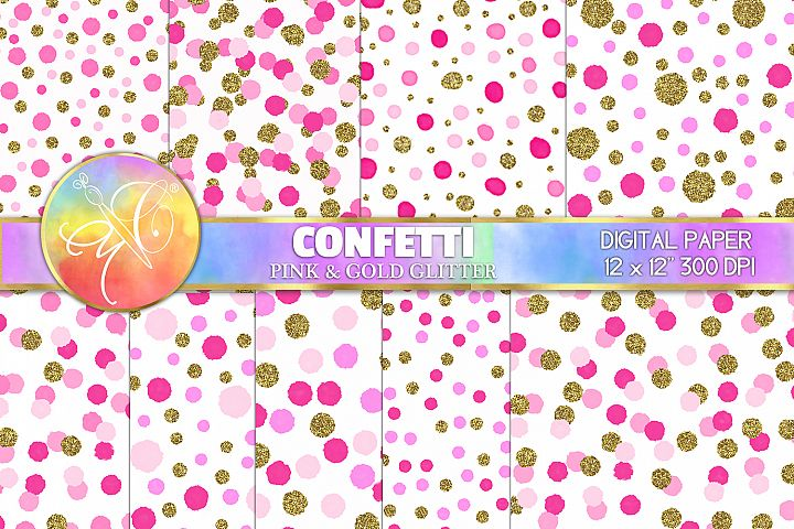 Confetti Digital Paper, Pink and Gold, Digital Background