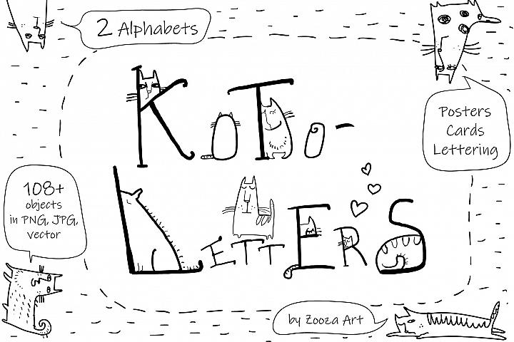 KotoLetters - clip-art, 2 Alphabets, posters, cards