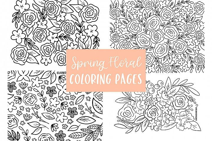 4 Spring Floral Coloring Pages example