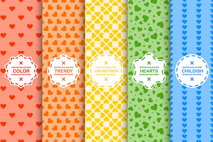 Colorful seamless hurts patterns