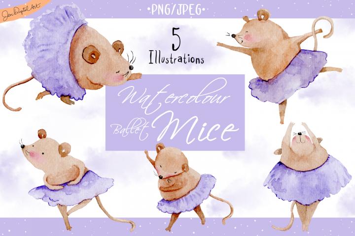 Watercolor Ballet Mice | 5 Clip Art Illustrations | PNG/JPG