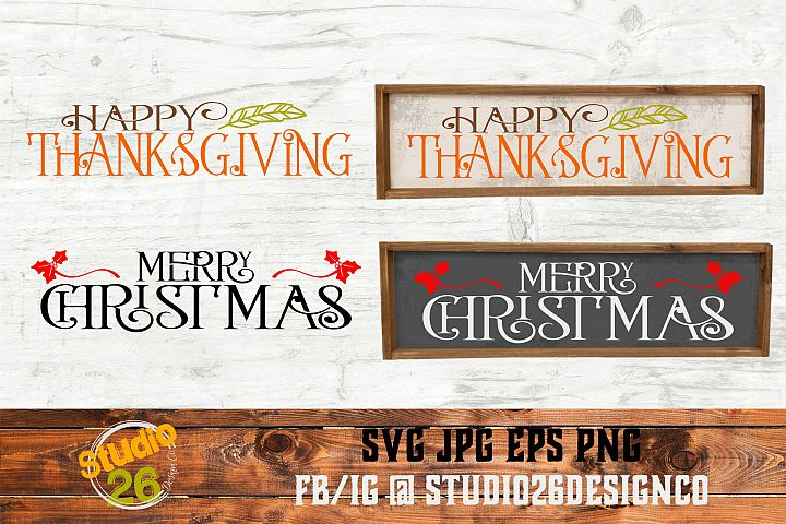 Thanksgiving & Christmas SVG Bundle- 2 Files - SVG PNG EPS