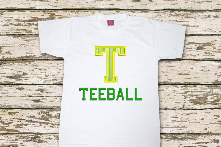 T for Teeball Applique Embroidery Design
