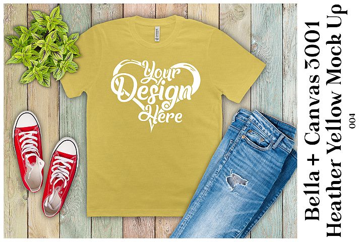 Mens T-Shirt Mockup Heather Yellow Bella Canvas 3001 Mock up