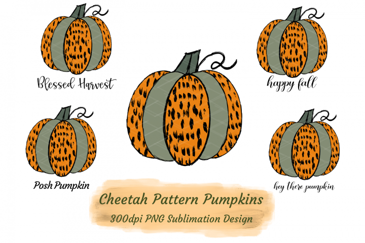 Cheetah Pattern Pumpkins Bundle Sublimation PNG HTV Transfer