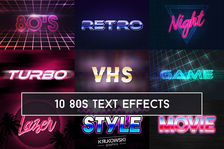 80s Retro Text Effect Mockup