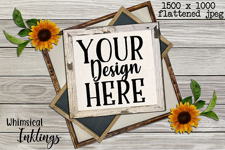 Wood Sign and Sunflower Mock Up