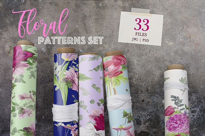 Pink Floral patterns set
