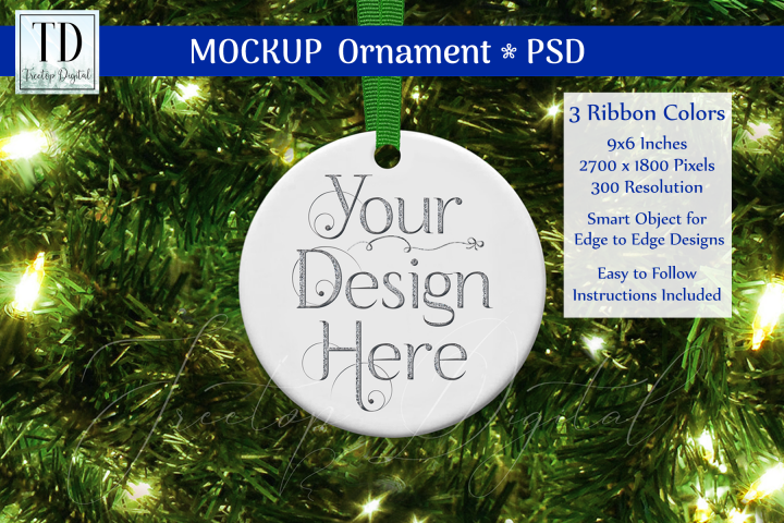 Round Christmas Ornament Mockup, Bauble Mock-Up Greens, PSD