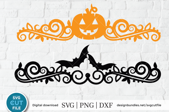Halloween jackolantern or pumpkin and bat ornate design svg
