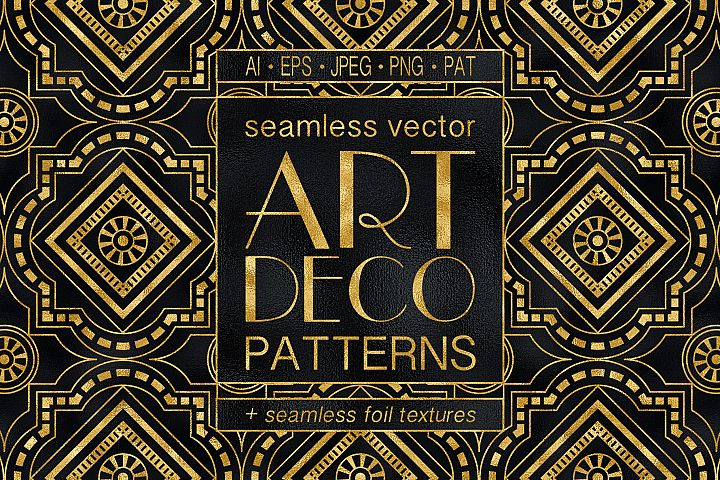 Geometric Art Deco Patterns - 20 Seamless Vector Patterns
