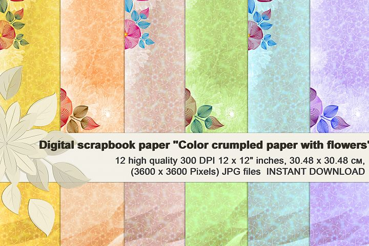 Rainbow Floral Crumpled Digital Paper