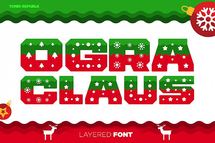 Ogra Clause Layered Christmas Font