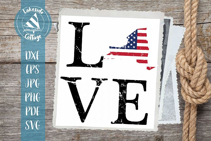 LOVE New York - 4th of july svg - memorial day svg dxf eps