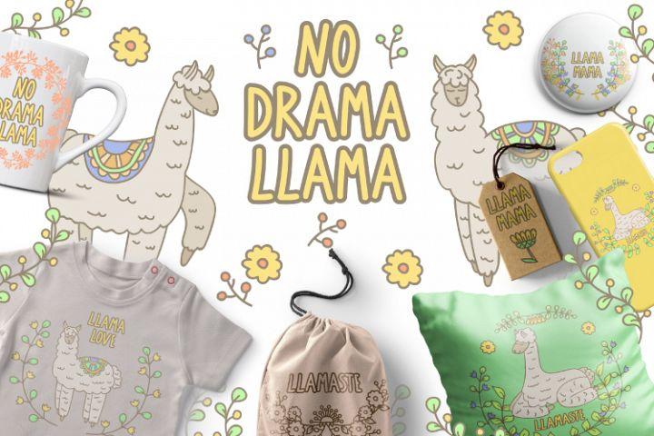 Llama and flowers clipart set. Floral digital stamps