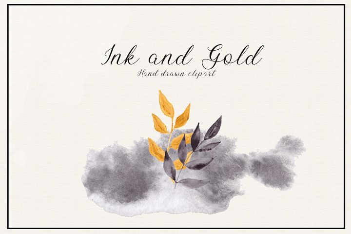 Ink and Gold. Hand drawn clipart