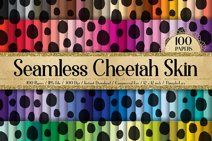 100 Seamless Cheetah Skin Print Animal Zoo Digital Papers