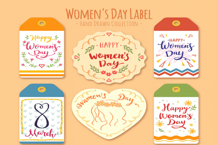 Painted womens day pattern tag vector
