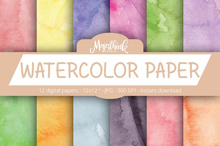 WATERCOLOR PAPER - with red, green, blue, yellow, purple, black, pink watercolor paper texture