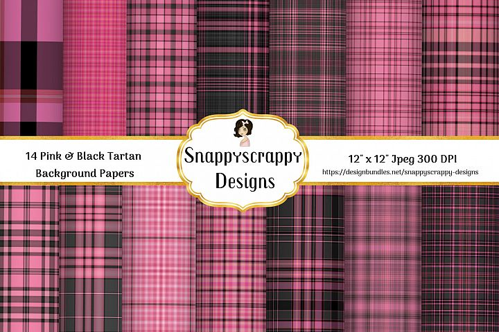 Pink and Black Tartan Background Papers