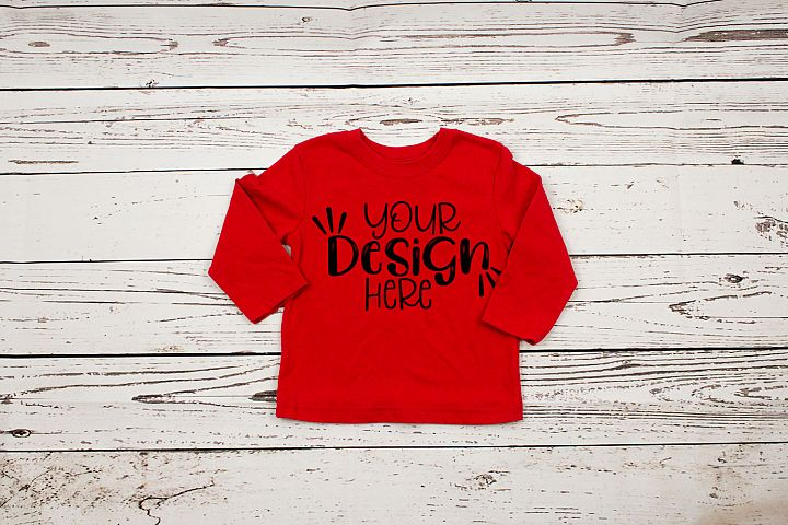 Red long sleeve toddler t-shirt mockup