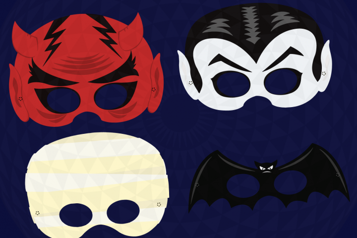 Halloween Party Masks printable, DIY Halloween Digital Clip