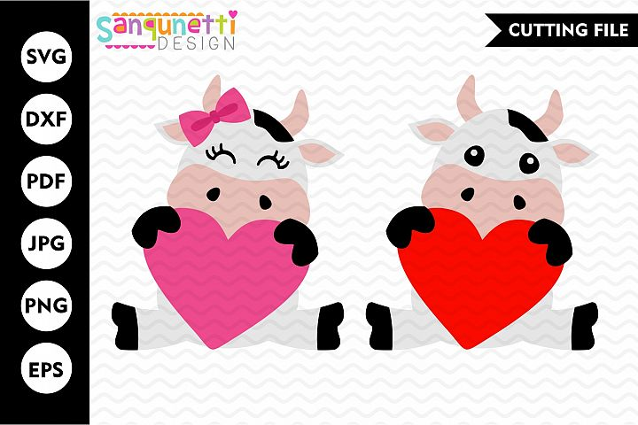 Valentine cow girl and boy SVG, hearts cutting file