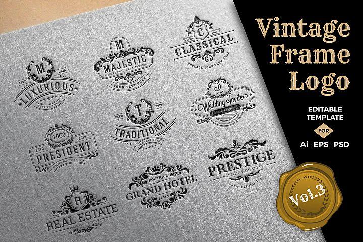 9 Retro Vintage Frame Logo Template Volume 3