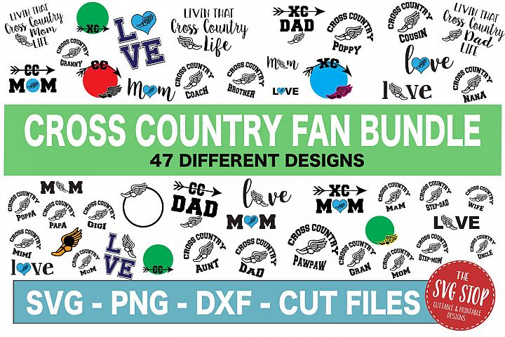 Cross Country Fan Bundle -SVG, PNG, DXF