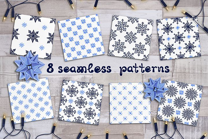 8 hand drawn Christmas seamless patterns with snowflakes