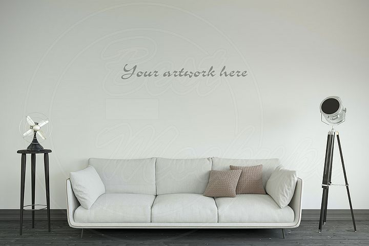 Blank wall modern interior mockup
