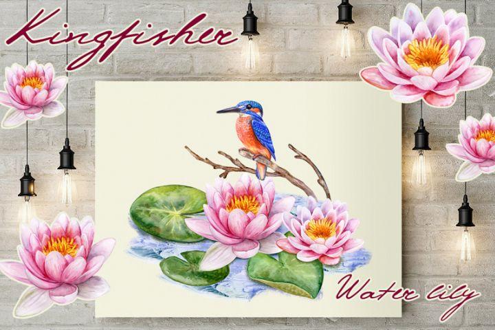 Kingfisher and Pink lotuses